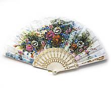 Веер кружевной летний с цветами