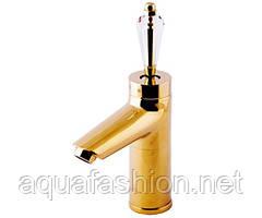 Золотой смеситель для раковины с ручкой Сваровски Venezia Diamond Gold