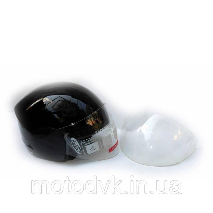 Мотошлем DVKmoto -55 черный размер М   дополнительное стекло антискраб