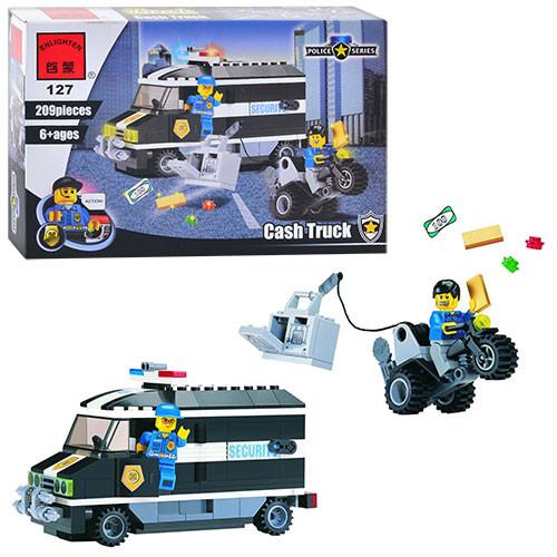 Конструктор BRICK 457833/127  Полицейская серия,машинка,209дет,фигурка,в кор-ке, 28,5-19-4,5см