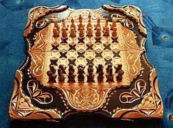 Шахматы - нарды в резьбе по дереву, фото 3