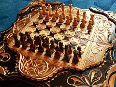 Шахматы - нарды в резьбе по дереву, фото 2
