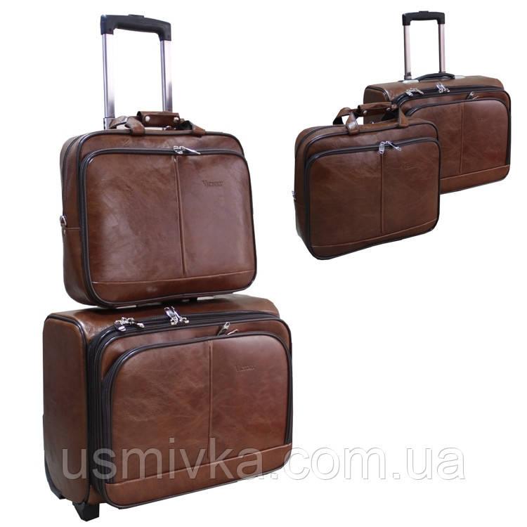 Чемодан  на колесах с сумкой 2-ка  (Brown) SW510342