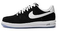 Мужские кроссовки Nike Lunar Force 1 Black (Найк Форсы низкие) черные