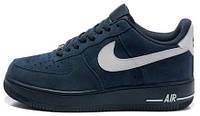 Мужские кроссовки Nike Air Force 1 LowNike Air Force 1 Low Obsidian Suede (найк аир форс низкие) синие