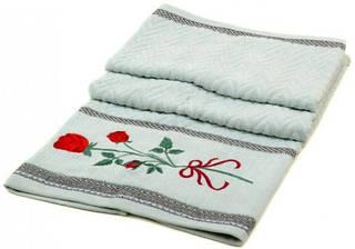 Прекрасное банное полотенце 140х70 махра F-760 A green зеленое