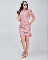 Женское платье в продольную узкую полоску