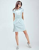 Салатовое платье с удленненой спинкой
