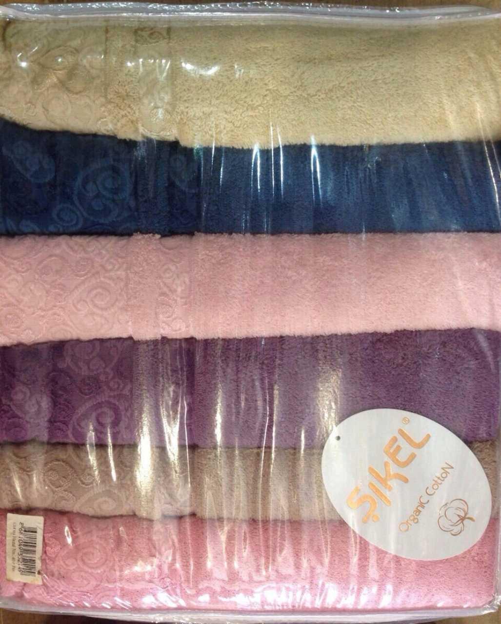 Набор махровых полотенец 6 - ка, Sikel Cotton Organic 70*140