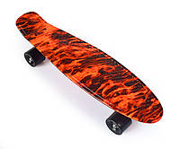 "Пенни Борд «Flames» / ""В Огне"" 22″ Черные Колеса / пенниборд скейт (penny board), скейтборд"