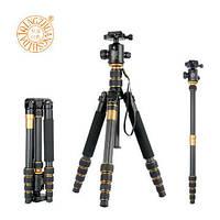 Штатив фирмы QZSD для фотоаппаратов - Q-666C (Q666C) + головка QZSD-02 (материал - карбон (углеродное волокно)