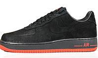 Мужские кроссовки Nike Air Force 1 Low VT Black Orange (Найк Аир Форс низкие) черные
