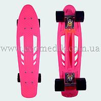 """Зручний скейтборд пенні борд рожевий з отворами в деці penny board 22"""""""