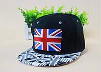 Бейсболка прямой козырек флаг великобритании