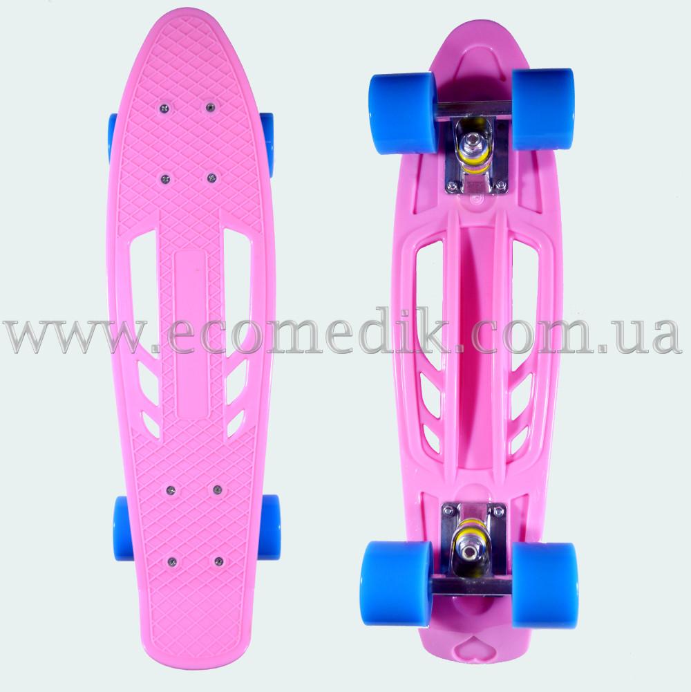 """Удобный скейтборд пенни борд светло-розовый с отверстиями в деке penny board 22"""""""