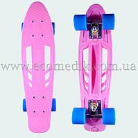 """Зручний скейтборд пенні борд світло-рожевий з отворами в деці penny board 22"""""""