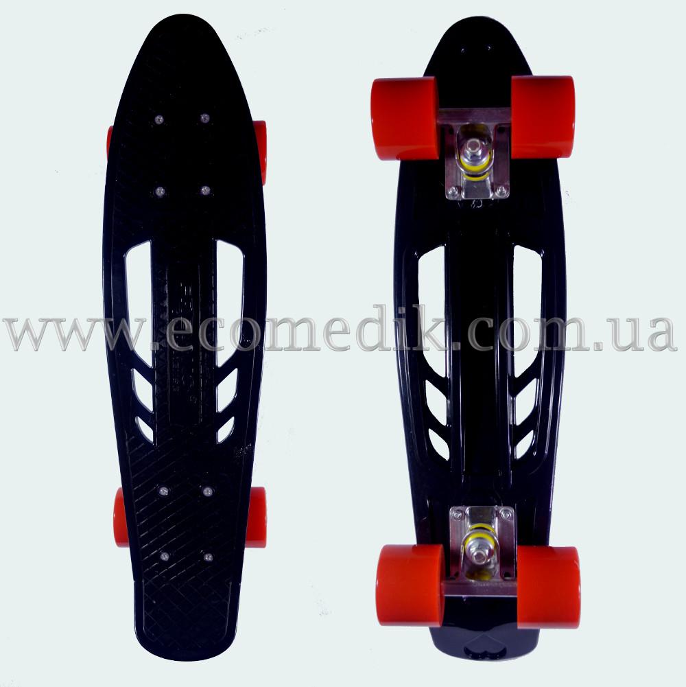 """Удобный скейтборд пенни борд черный с отверстиями в деке penny board 22"""""""