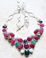Колье с натуральными камнями - Кашмирский Рубин, Жемчуг, Изумруд, Дихроическое стекло (США)
