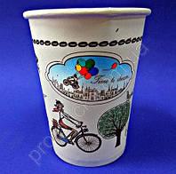 Стакан бумажный одноразовый 250 мл, с рисунком Пора Пить Кофе, 50 шт/уп