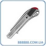 Нож с ломающимся лезвием 18мм с металлической направляющей противоскользящий корпус HT-0504 Intertool