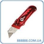 Нож с выдвижным трапециевидным лезвием металлический корпус HT-0515 Intertool