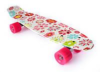 "Девичий Пенни Борд «Flowers» / ""Цветы"" 22″ Розовые Колеса / пенниборд скейт (penny board), скейтборд"