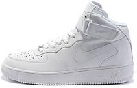 Мужские высокие кроссовки Nike Air Force White Найк Аир Форс белые