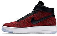Мужские высокие кроссовки Nike Air Force 1 Ultra Flyknit, найк аир форс красные