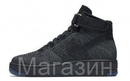 d6642d7a7a07 Мужские высокие кроссовки Nike Air Force 1 Ultra Flyknit Найк Аир Форс  черные, фото 2