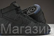 Мужские высокие кроссовки Nike Air Force 1 Ultra Flyknit Найк Аир Форс черные, фото 3