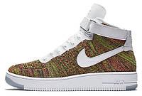 Мужские высокие кроссовки Nike Air Force 1 Ultra Flyknit Найк Аир Форс разноцветные