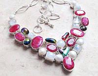Колье с натуральными камнями - Кашмирский Рубин, Жемчуг, Лунный Камень, Дихроическое стекло (США)