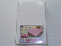 Непромокаемая махровая простынь на резинке белая