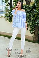 Блузка - коттон, брюки - николь. Костюм летний.