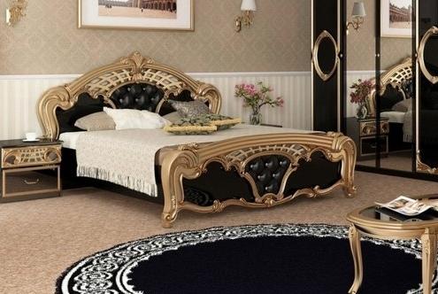 Кровать двуспальная Реджина  Черная 180  Миромарк