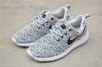 Кроссовки мужские Nike Roshe Run 2016 (рош раны) серые и подошва белая