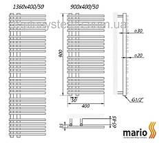 Полотенцесушитель MARIO Премиум Марсель 1360/560/50 водяной , фото 2