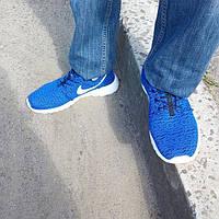Кроссовки Nike мужские Roshe Run 2016 (рош раны) синие и подошва белая, фото 1