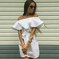 Летнее платье  из хлопка с воланом