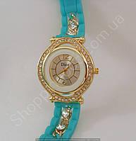 Часы Dior 114167 женские золотистые со стразами на бирюзовом ремешке из силикона