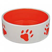 Миска керамическая для собак, Trixie с лапками, красная, 1,4 л/20 см