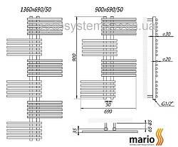 Полотенцесушитель MARIO Премиум Симфония  1360/690/50 водяной , фото 2