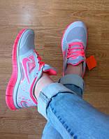 Кроссовки Nike женские Free Run 5.0 серые с розовым (фри ран 2016), фото 1