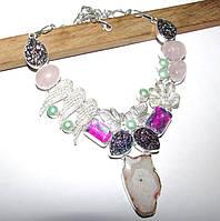 Колье с натуральными камнями - розовый кварц, срез агата, радужный кварц, титановые друзы агата