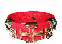 Браслет красный кожаный с аксессуарами