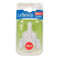 Соска для бутылочки с широким горлышком 1-й уровень Dr. Brown's Natural Flow® 2 шт./уп. (352)