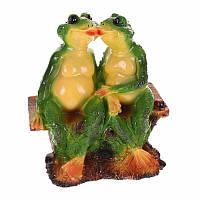 """Садовая фигура """"Две лягушки на лавочке"""" 18,5×28×30см 444-17"""