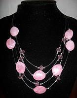 Оригинальное колье с розовыми камнями