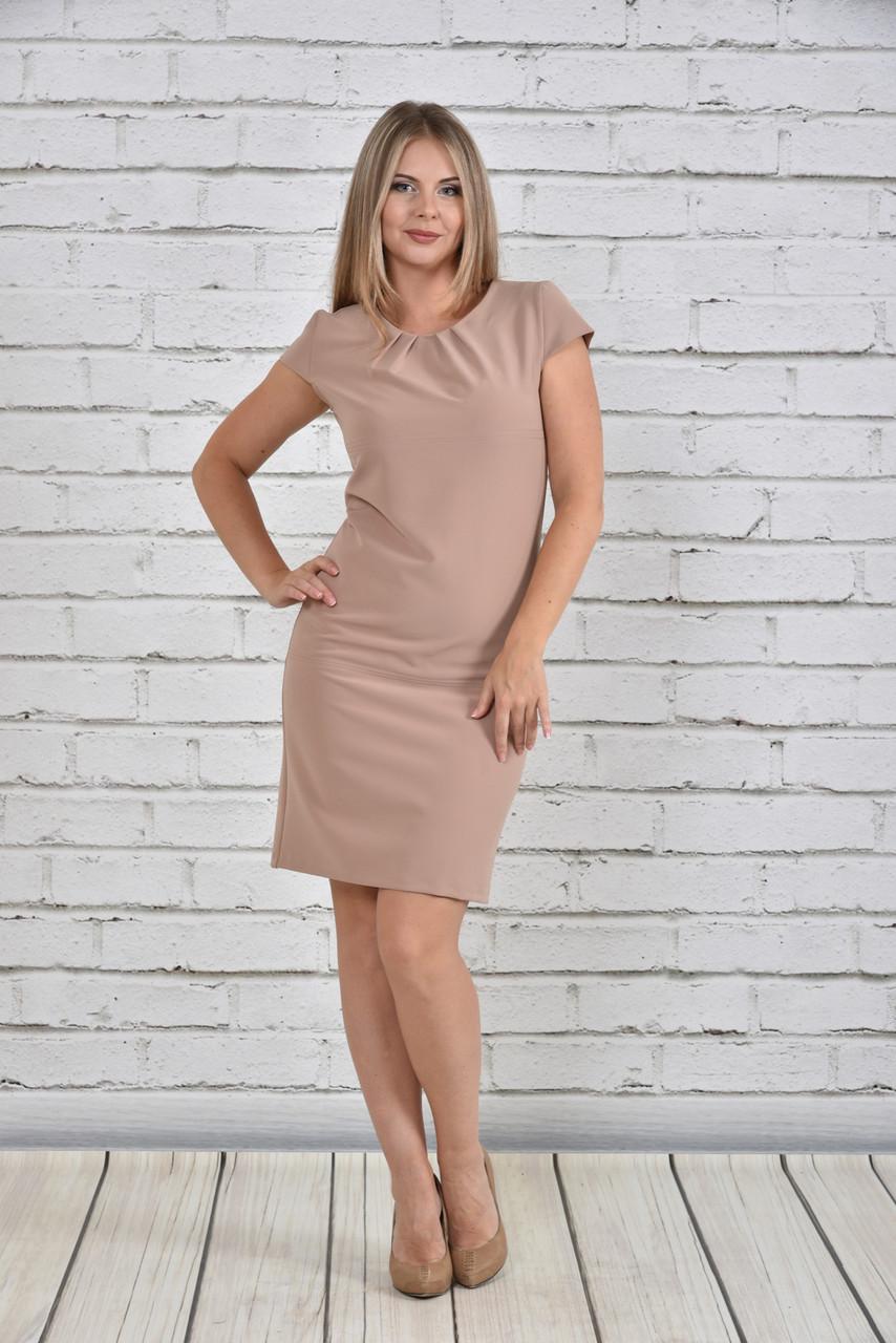 9e5093ad438 Элегантное платье-футляр больших размеров 0300 бежевое 48-74 - V Mode