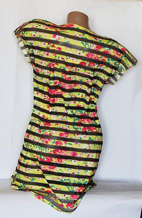 Модная яркая полосатая пляжная туника с принтом, фото 2